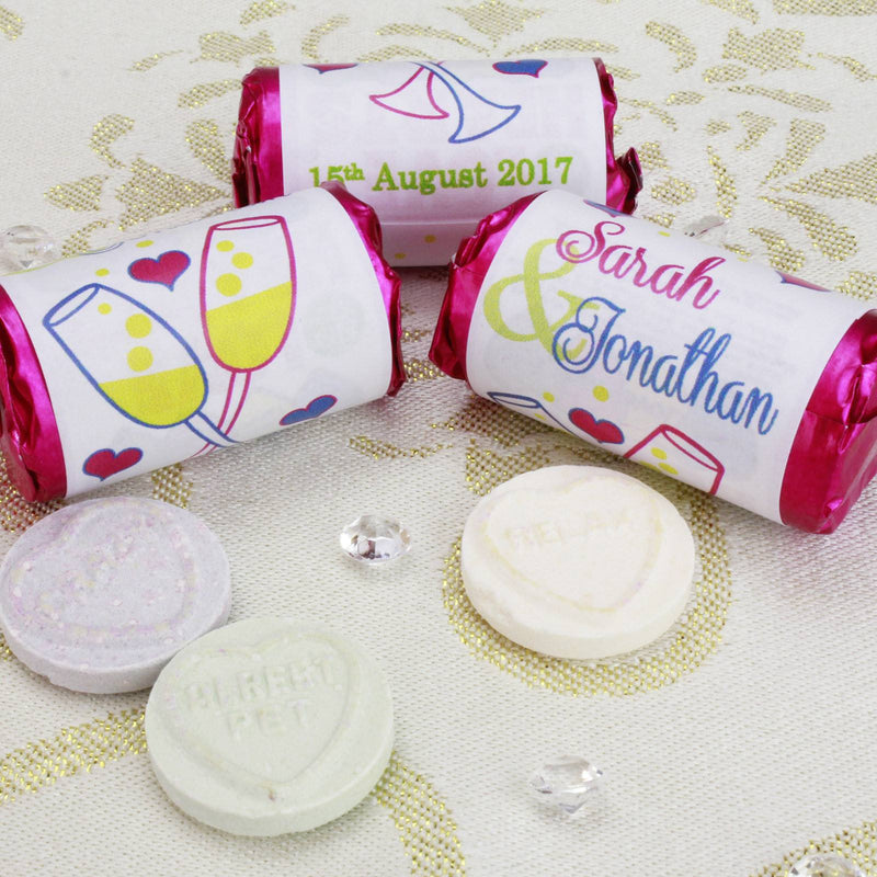 Love Hearts - Personalised Mini Love Hearts Rolls Sweets Favour - Wedding - Glasses