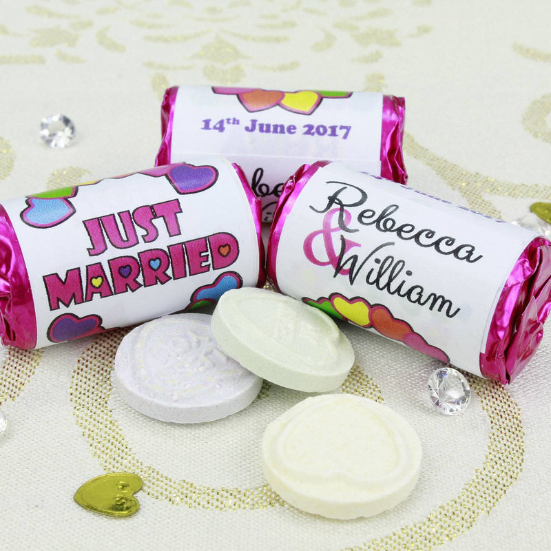 Love Hearts - Personalised Mini Love Hearts Rolls Sweets Favour - Wedding - Hearts