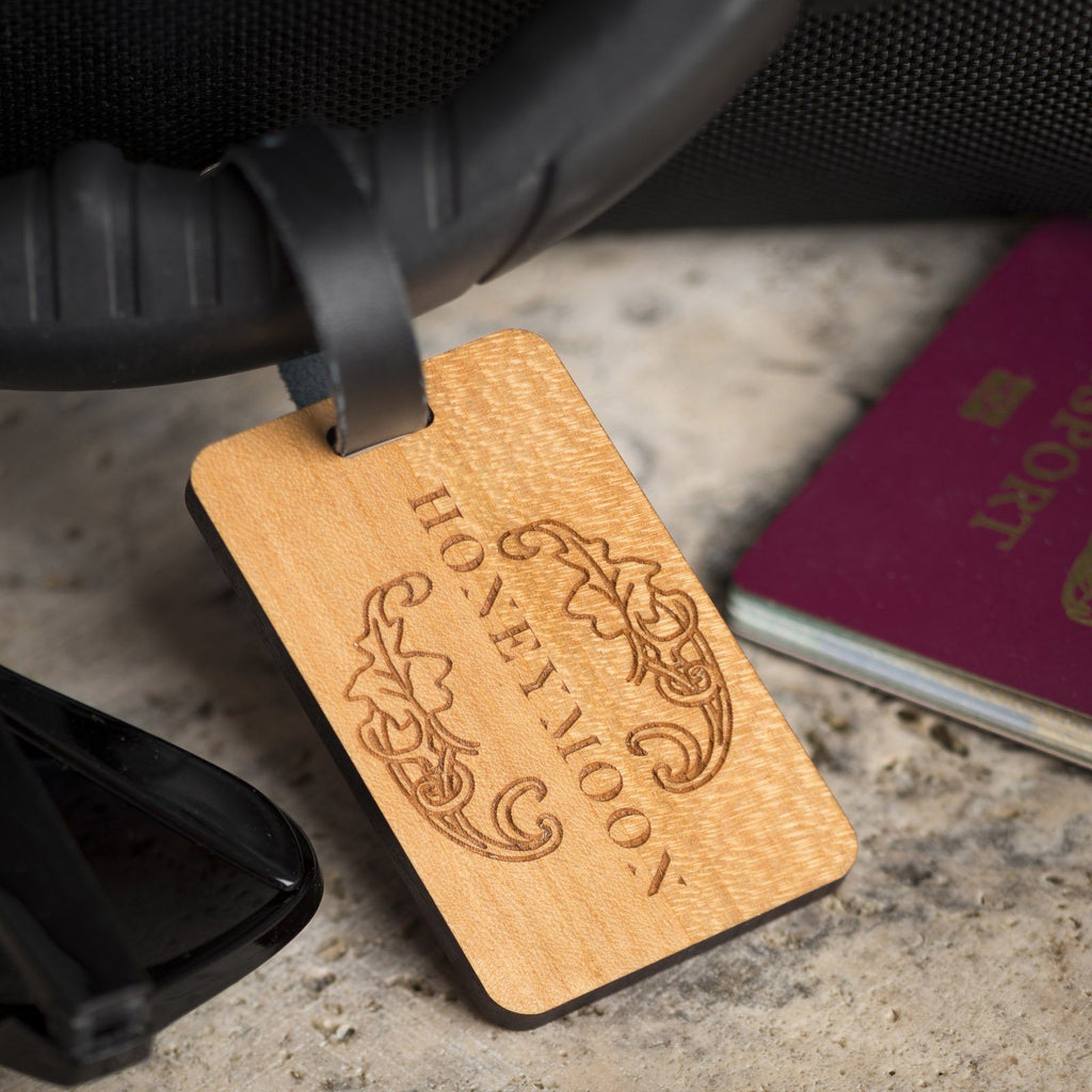 Luggage Tags - Personalised Laser Engraved Wooden Luggage Tag With Leather Strap - Honeymoon Leaf Design