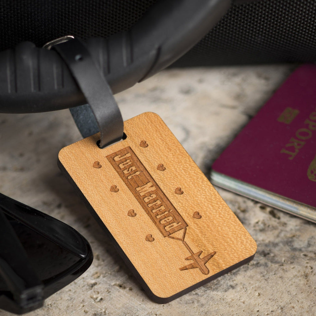 Luggage Tags - Personalised Laser Engraved Wooden Luggage Tag With Leather Strap - Jet Plane Design