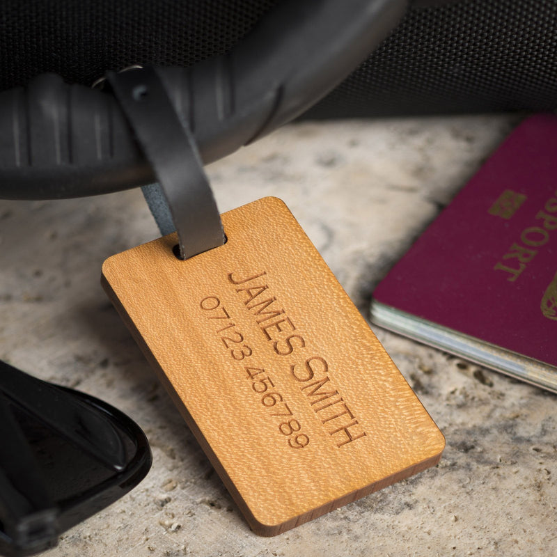 Luggage Tags - Personalised Laser Engraved Wooden Luggage Tag With Leather Strap - Rings & Planes Design