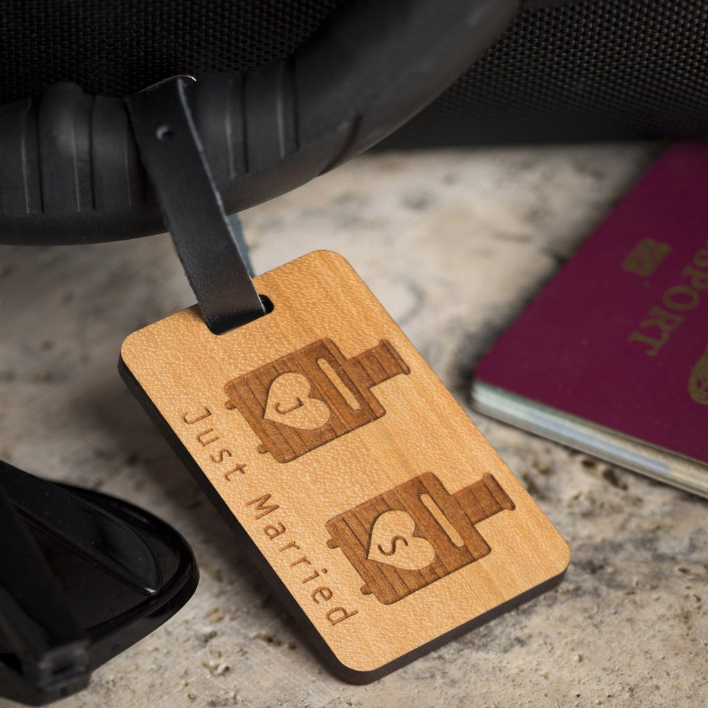 Luggage Tags - Personalised Laser Engraved Wooden Luggage Tag With Leather Strap - Suitcase Design