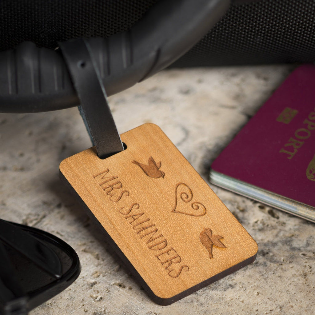 Luggage Tags - Personalised Laser Engraved Wooden Luggage Tag With Leather Strap - Surname LoveBird Design