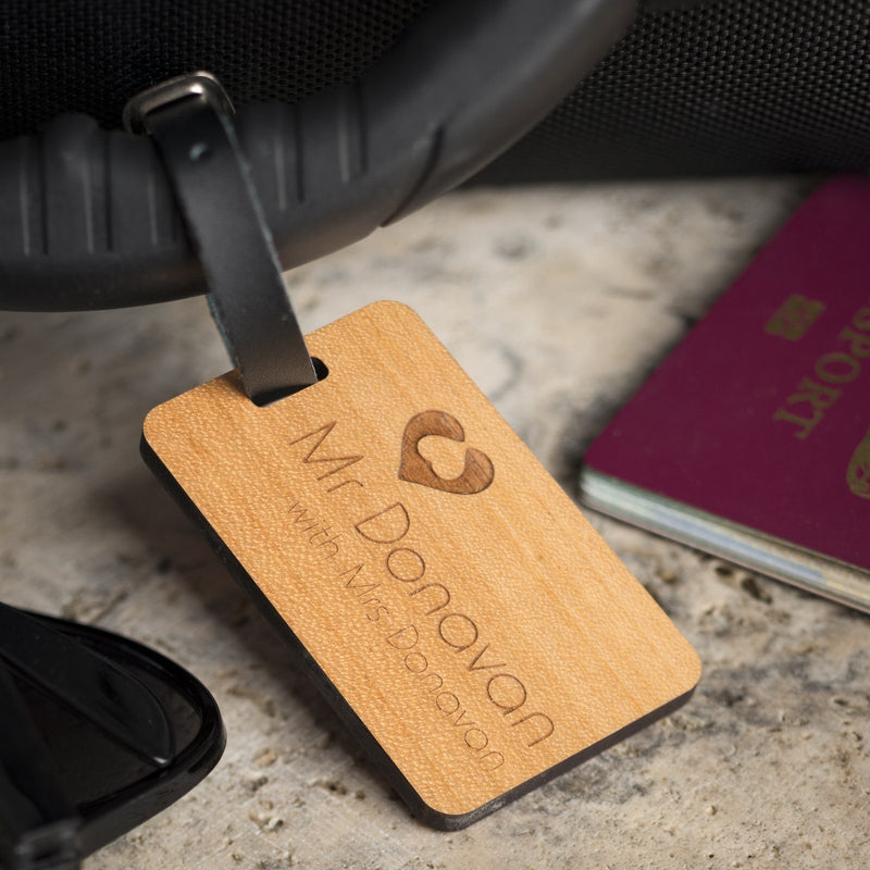 Luggage Tags - Personalised Laser Engraved Wooden Luggage Tag With Leather Strap - Travelling With Design