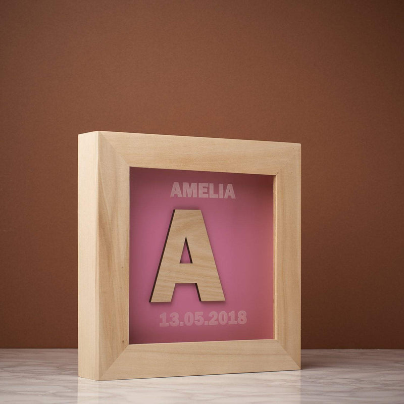 Memory Box Frame - Name And Initial Memory Box Frame