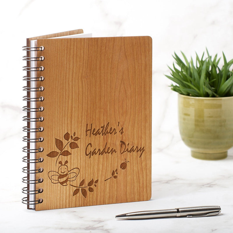 Notebook Planner - Personalised A5 Gardening Note Book, Journal, Planner - Bee Design