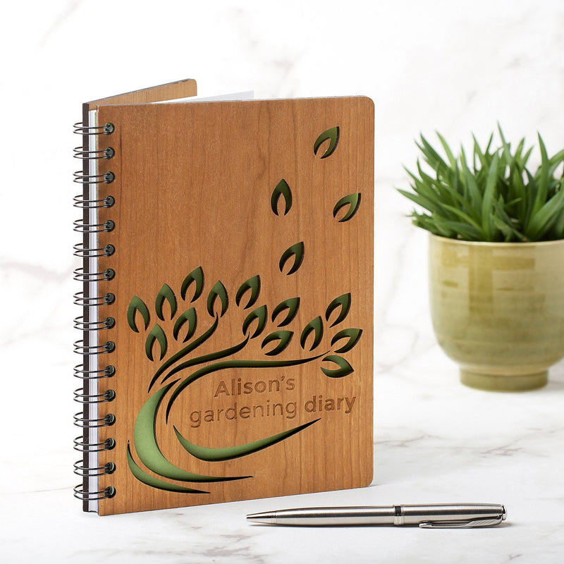 Notebook Planner - Personalised A5 Gardening Note Book, Journal, Planner - Leaf Design