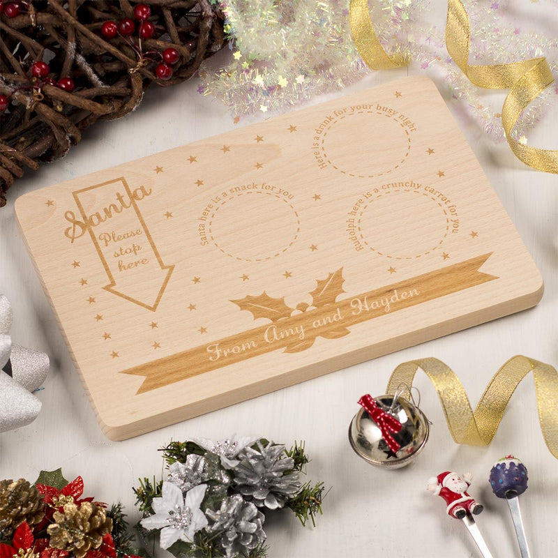Personalised  Wooden Christmas Eve Santa Platter - Arrow