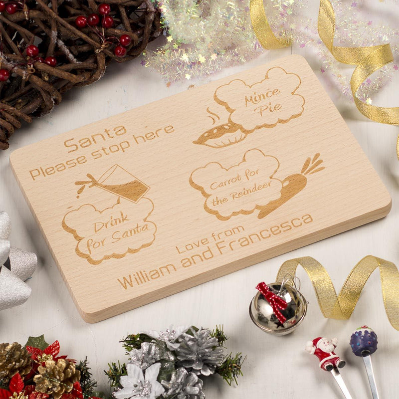 Personalised Wooden Christmas Eve Santa Platter - Clouds
