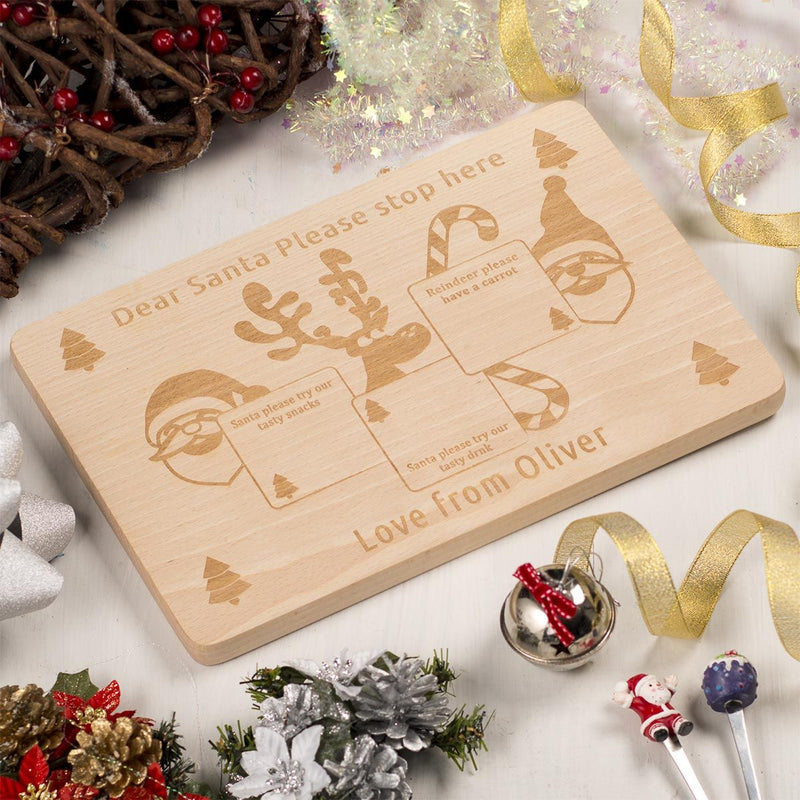 Personalised  Wooden Christmas Eve Santa Treat Platter  - Squares