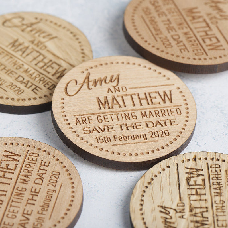 Save The Date Magnet - Save The Date Magnet Wooden Rustic - Dots