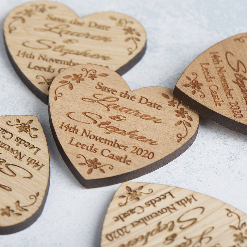 Save The Date Magnet - Save The Date Magnet Wooden Rustic - Heart Floral