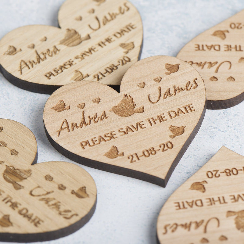 Save The Date Magnet - Save The Date Magnet Wooden Rustic - Heart Lovebirds