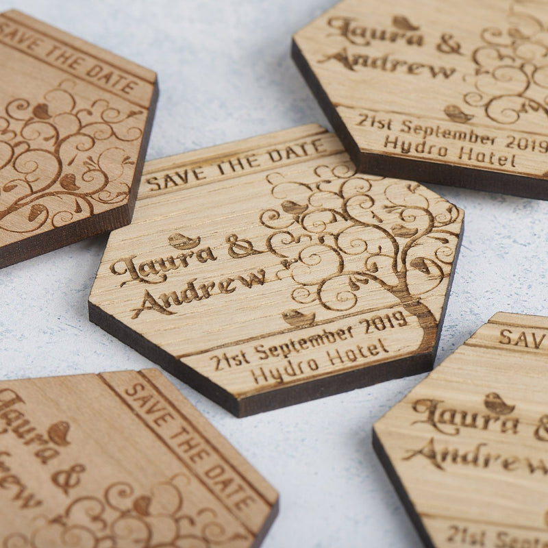 Save The Date Magnet - Save The Date Magnet Wooden Rustic - Hexagon