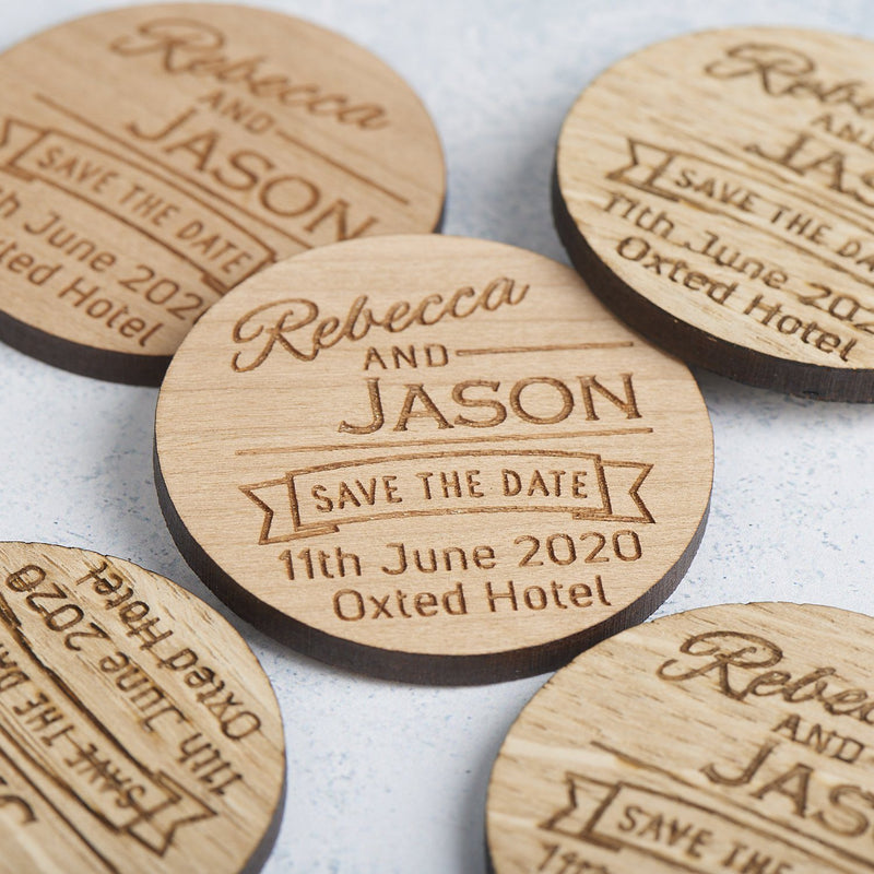 Save The Date Magnet - Save The Date Magnet Wooden Rustic - Ribbon