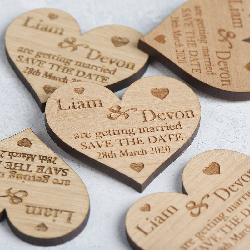 Save The Date Magnet - Save The Date Magnet Wooden Rustic - Small Hearts