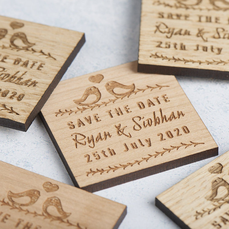 Save The Date Magnet - Save The Date Magnet Wooden Rustic - Square Love Bird