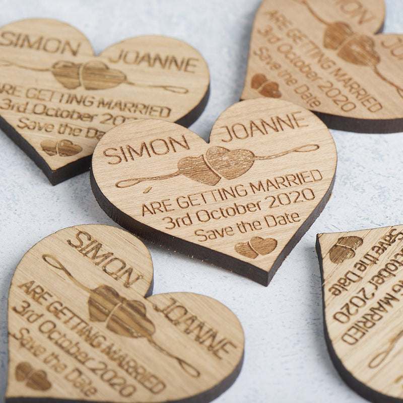 Save The Date Magnet - Save The Date Magnet Wooden Rustic - Two Hearts