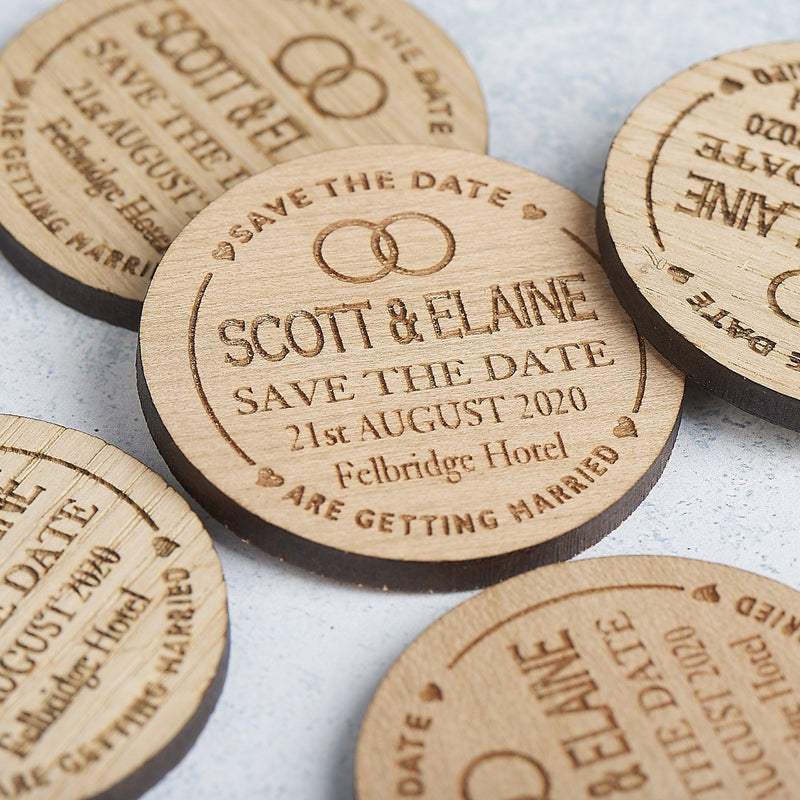 Save The Date Magnet - Save The Date Magnet Wooden Rustic - Two Rings