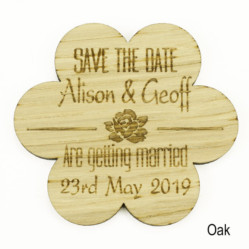 Save The Date Magnet - Save The Date Wooden Magnet Wedding Invitation - Flower - Rose