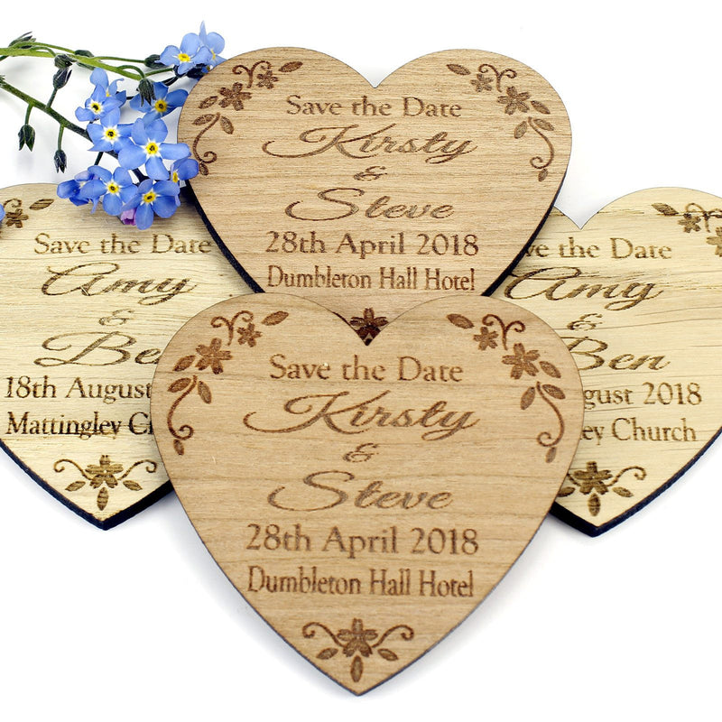 Save The Date Magnet - Save The Date Wooden Magnet Wedding Invitation - Heart - Floral