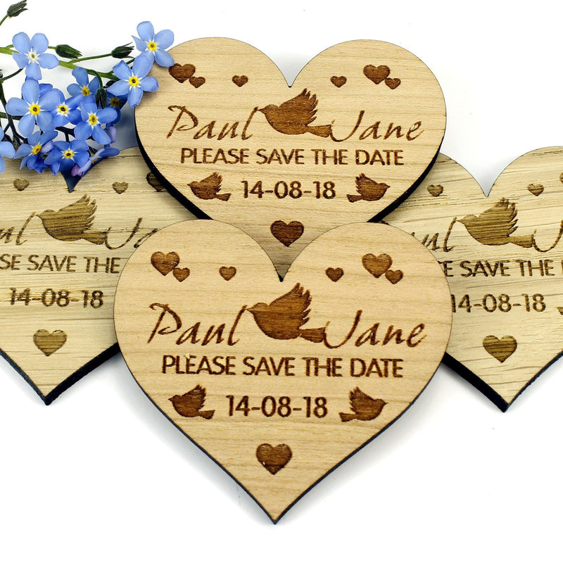 Save The Date Magnet - Save The Date Wooden Magnet Wedding Invitation - Heart - Lovebirds