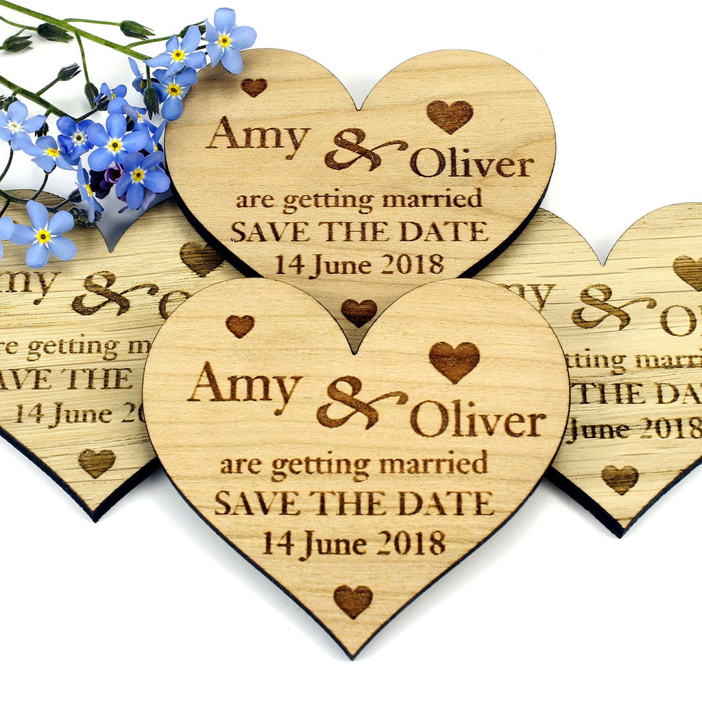 Save The Date Magnet - Save The Date Wooden Magnet Wedding Invitation - Heart - Small Hearts