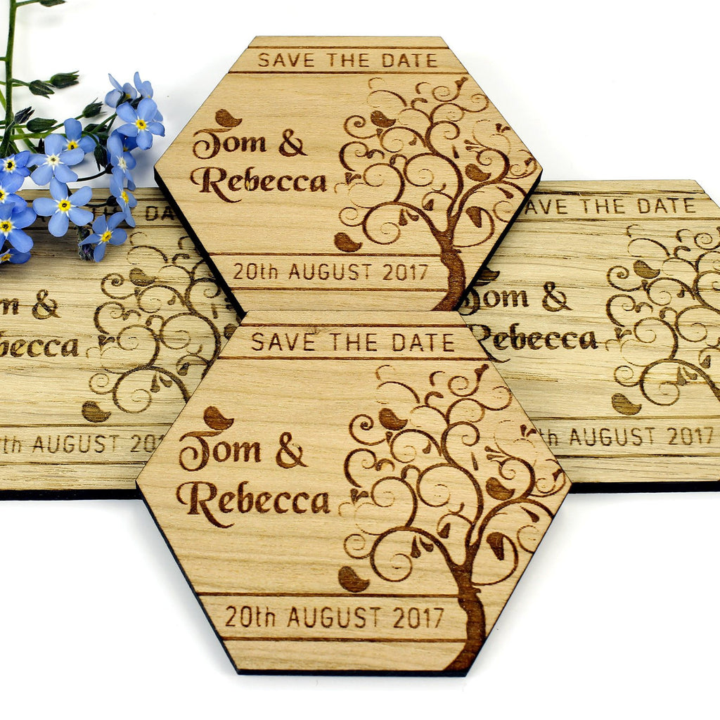 Save The Date Magnet - Save The Date Wooden Magnet Wedding Invitation - Hexagon - Tree