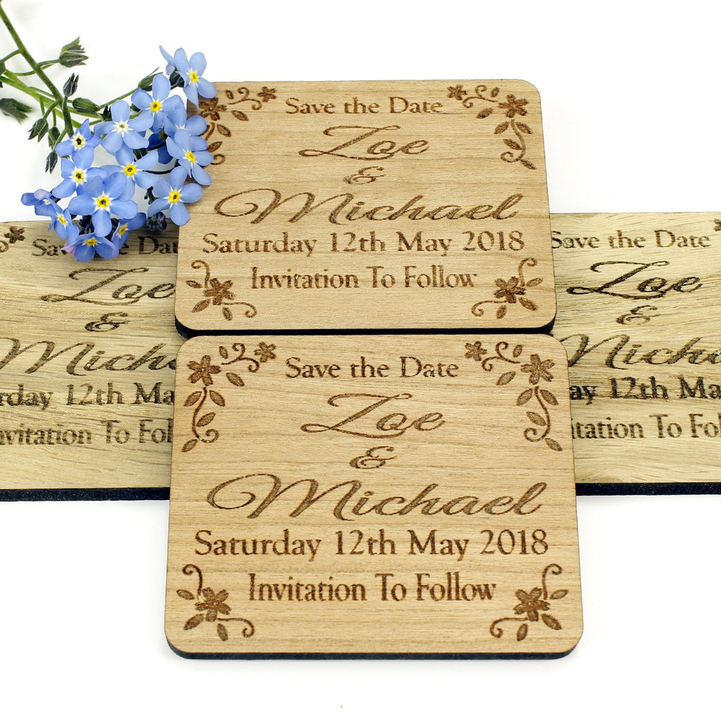 Save The Date Magnet - Save The Date Wooden Magnet Wedding Invitation - Rectangle- Floral