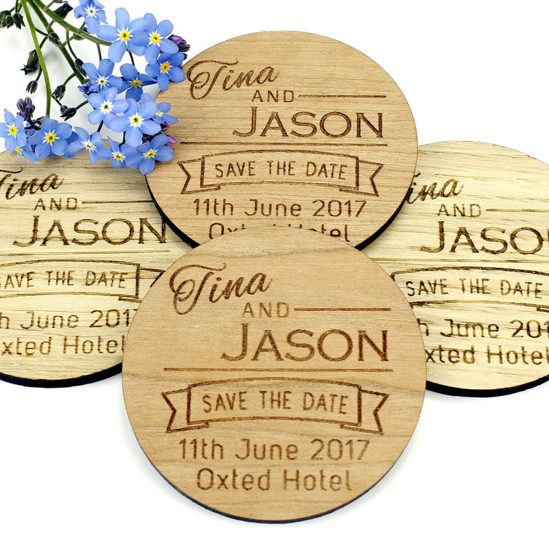 Save The Date Magnet - Save The Date Wooden Magnet Wedding Invitation - Round - Ribbon