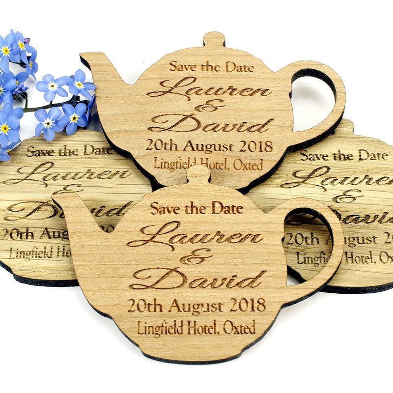 Save The Date Magnet - Save The Date Wooden Magnet Wedding Invitation - Teapot