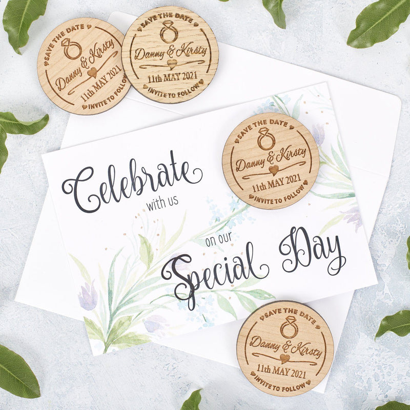 Save The Date Magnet With Cards - Save The Date Magnet Wooden Rustic & Cards - Diamond Ring