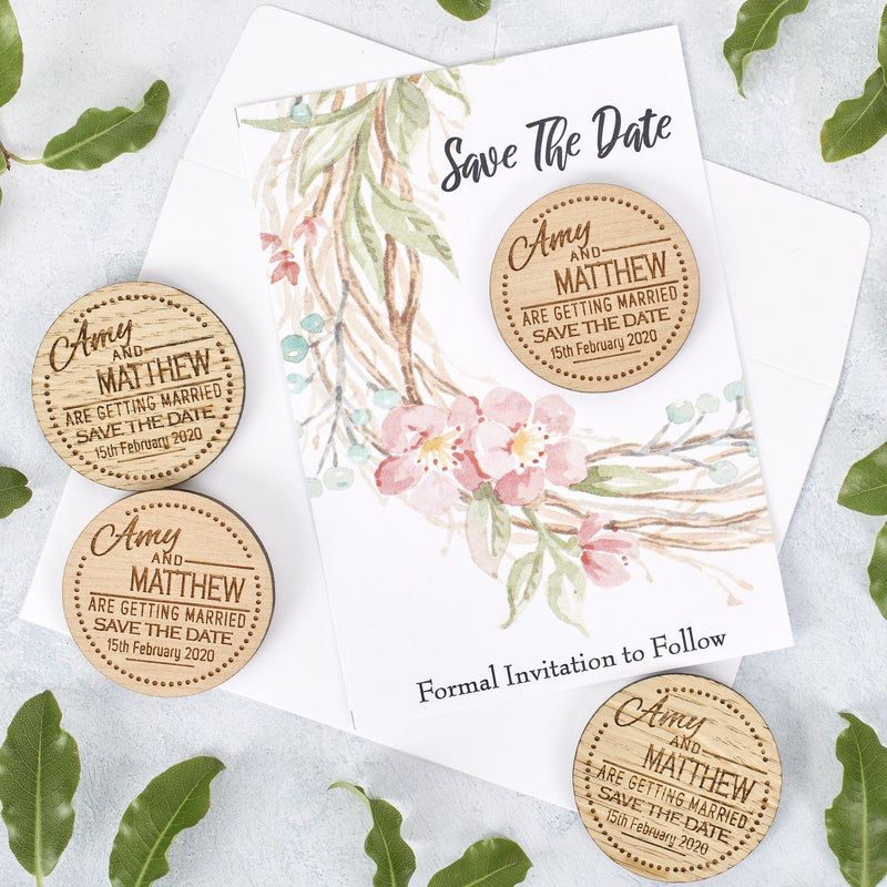 Save The Date Magnet With Cards - Save The Date Magnet Wooden Rustic & Cards - Dots