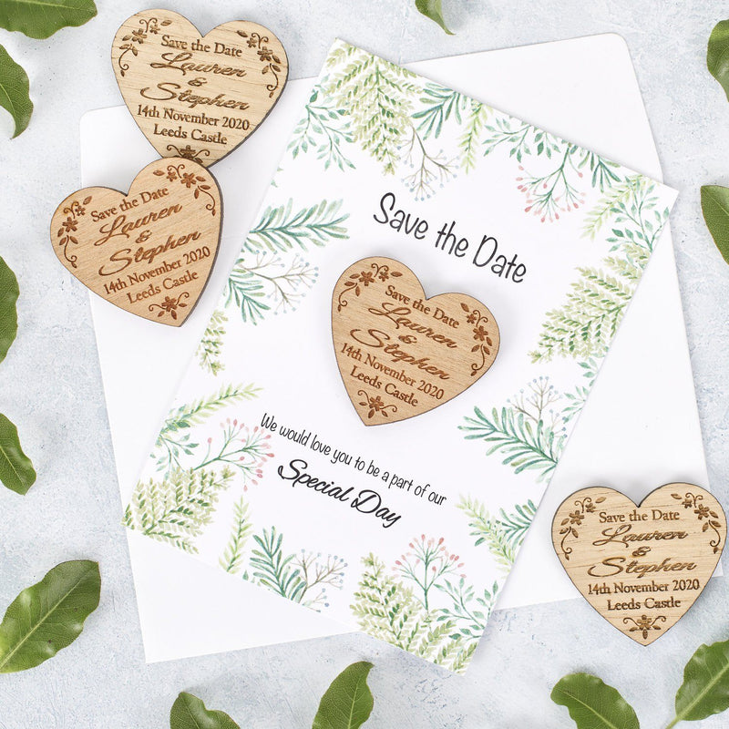 Save The Date Magnet With Cards - Save The Date Magnet Wooden Rustic & Cards - Heart Floral