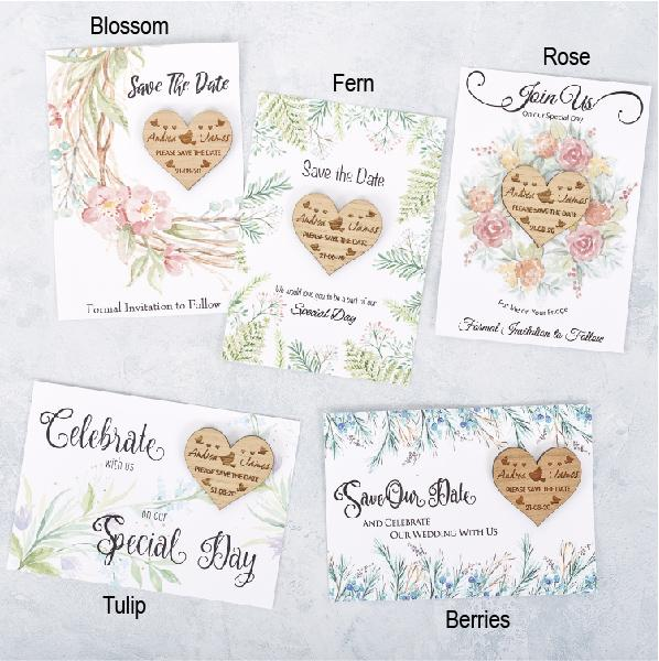 Save The Date Magnet With Cards - Save The Date Magnet Wooden Rustic & Cards - Heart Lovebirds