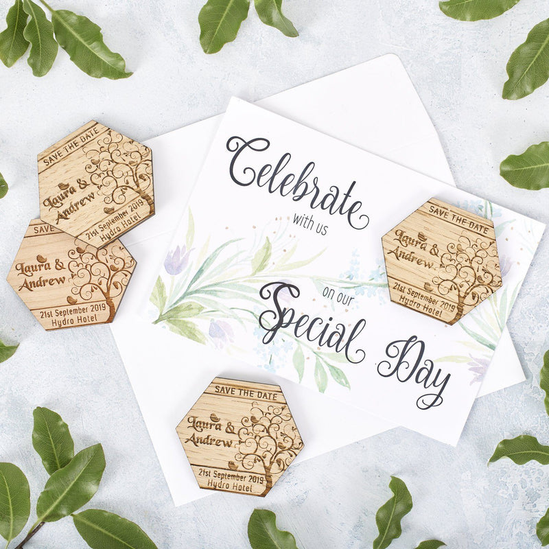 Save The Date Magnet With Cards - Save The Date Magnet Wooden Rustic & Cards - Hexagon