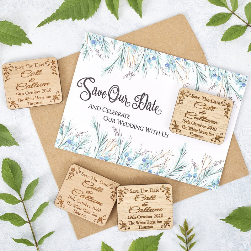 Save The Date Magnet With Cards - Save The Date Magnet Wooden Rustic & Cards - Rectangle Floral
