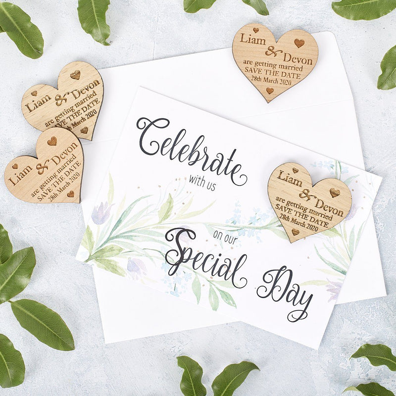 Save The Date Magnet With Cards - Save The Date Magnet Wooden Rustic & Cards - Small Hearts