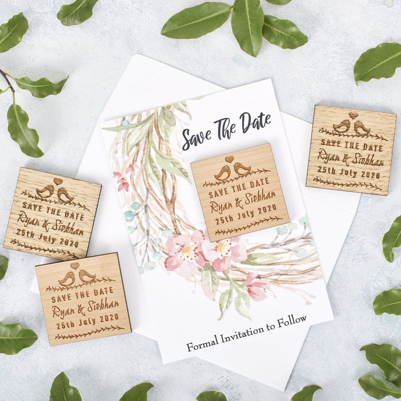 Save The Date Magnet With Cards - Save The Date Magnet Wooden Rustic & Cards - Square Lovebird