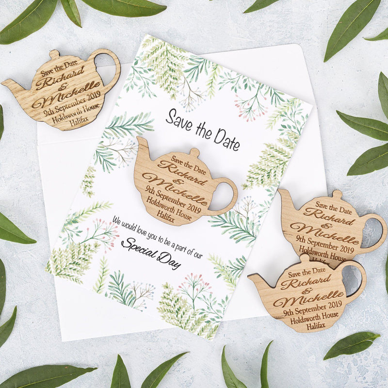 Save The Date Magnet With Cards - Save The Date Magnet Wooden Rustic & Cards - Tea Pot