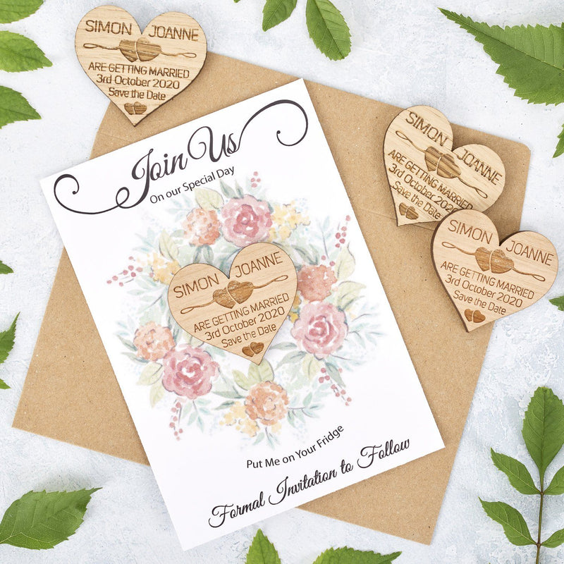 Save The Date Magnet With Cards - Save The Date Magnet Wooden Rustic & Cards - Two Hearts