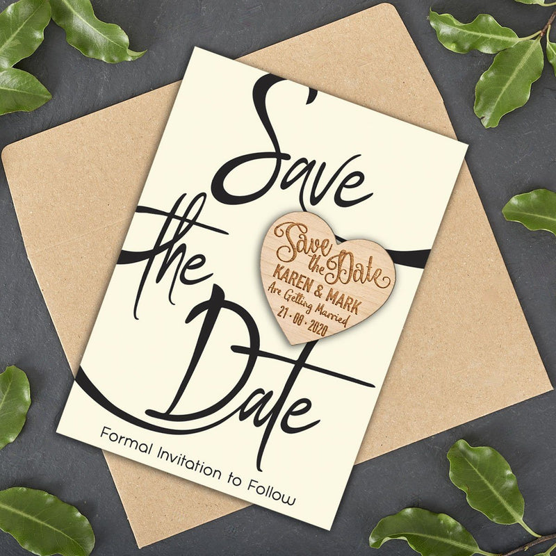 Save The Date Magnet With Cards - Save The Date Magnet Wooden Rustic - Simple Design