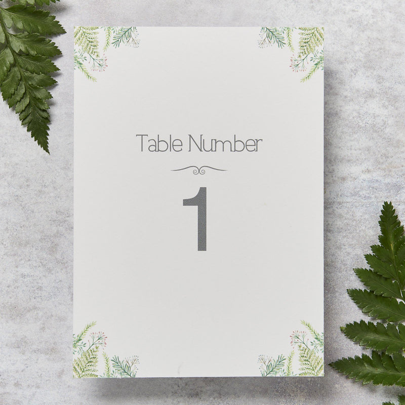 Table Numbers And Names - Fern Wedding Table Number