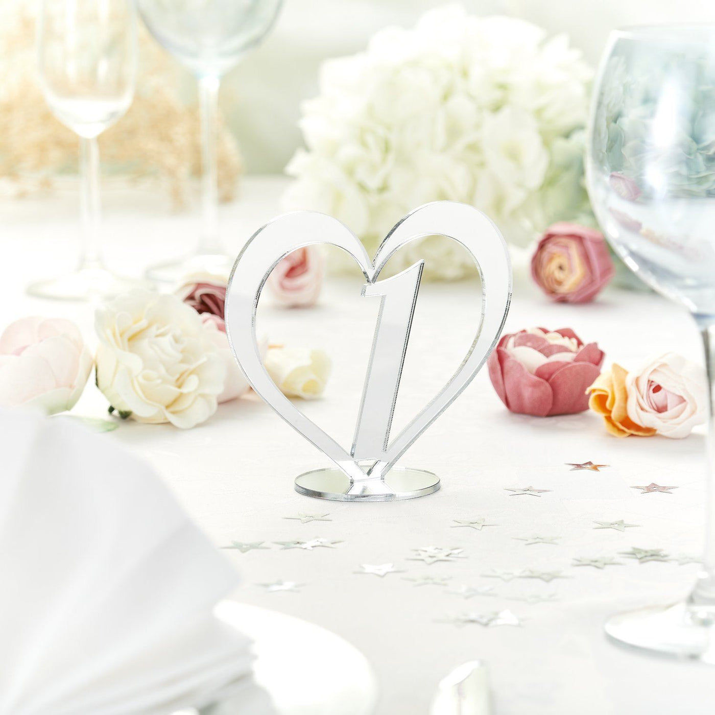 Reflective Silver Wedding Table Numbers In A Heart