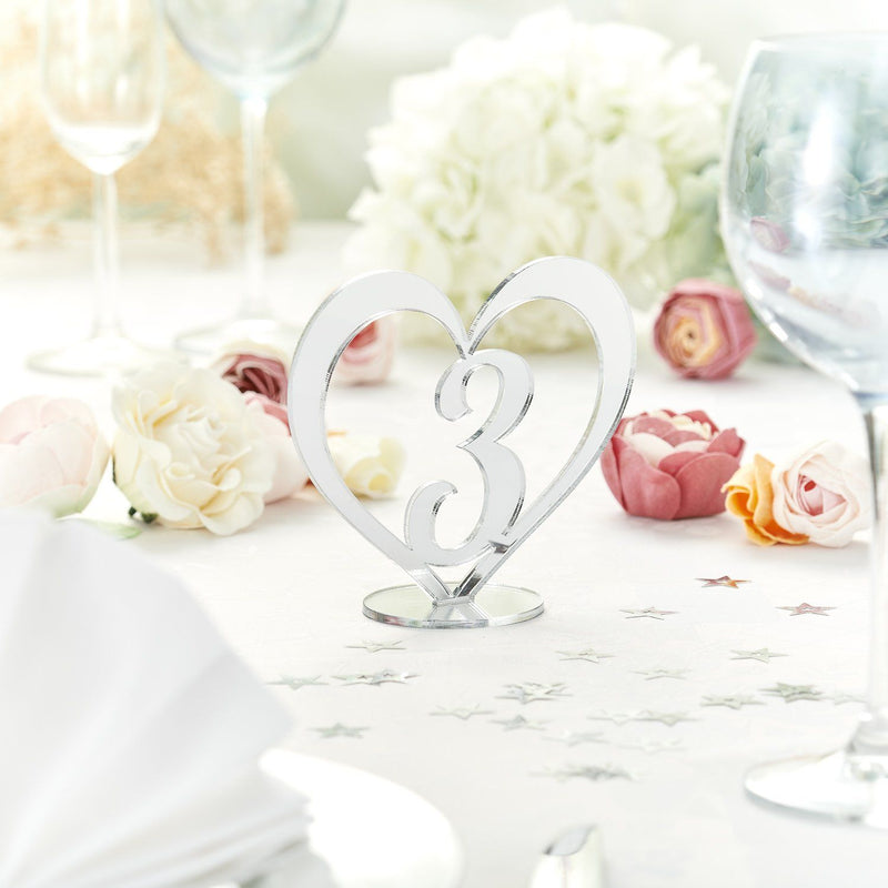 Table Numbers And Names - Reflective Silver  Wedding Table Numbers In A Heart