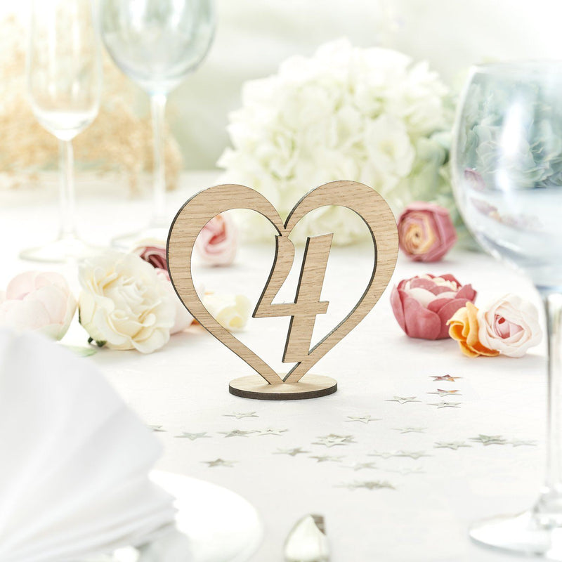Table Numbers And Names - Rustic Wooden Wedding Table Numbers In A Heart