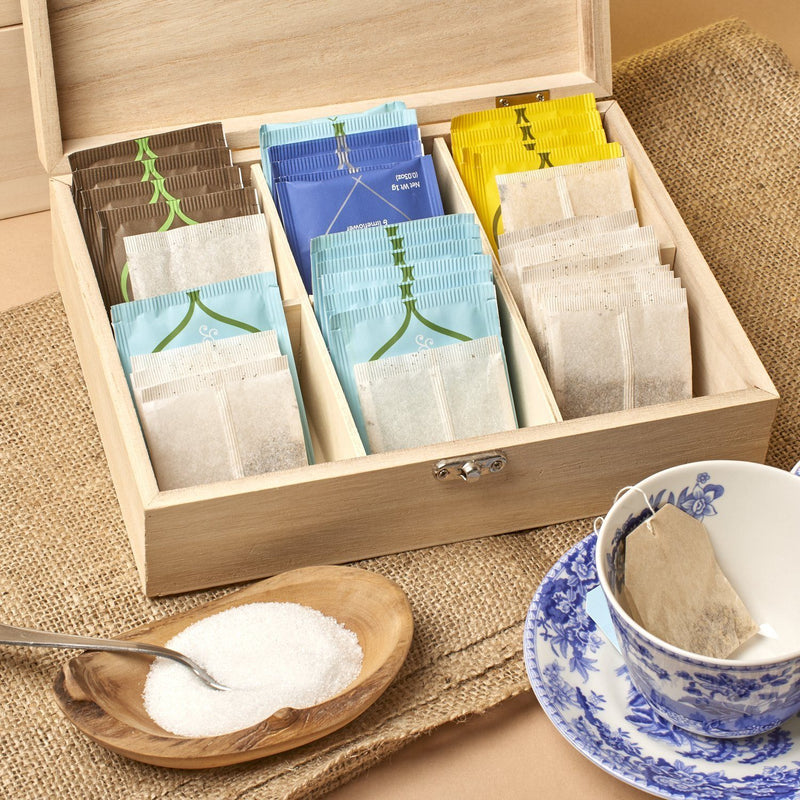 Tea Box - Personalised Engraved Bepoke Tea Storage Box Or Caddy - Simple Text Design