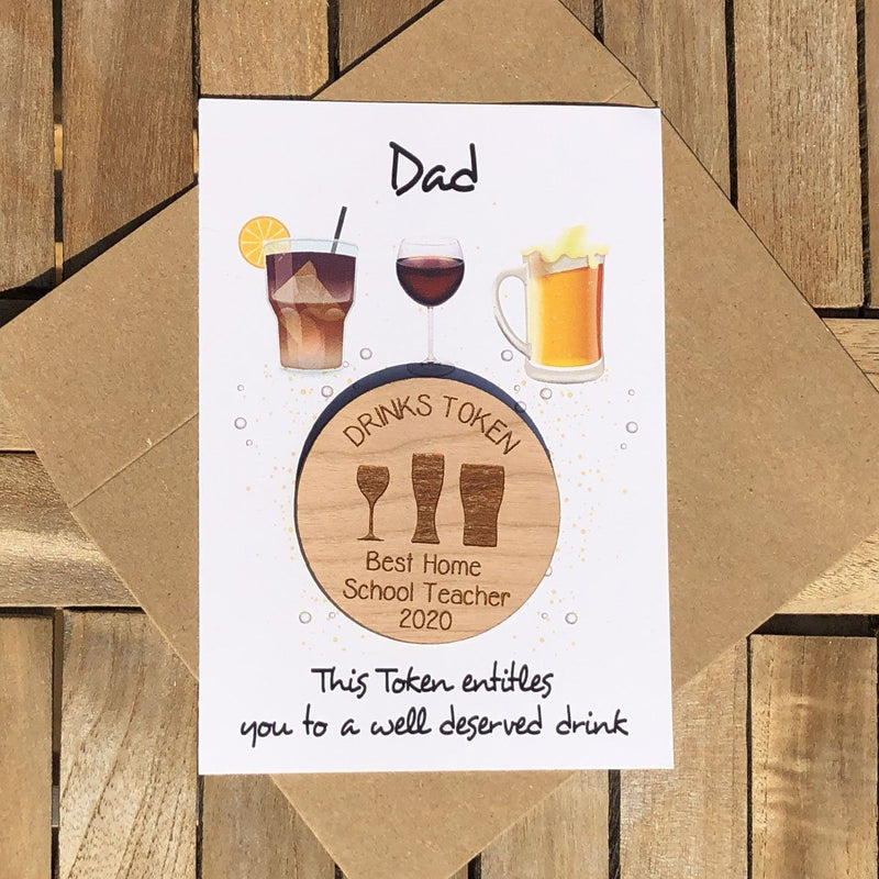 Teacher Token - Personalised Wooden Teacher Token - Drinks