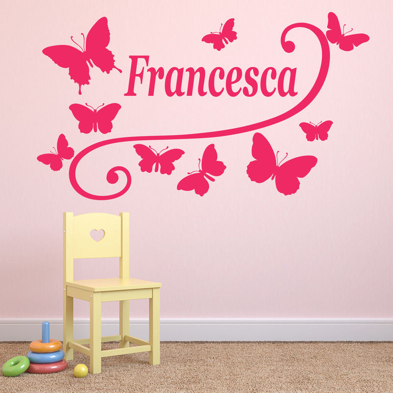 Wall Sticker - Personalised Butterfly Vinyl Wall Art Sticker, Mural, Decal - Any Name
