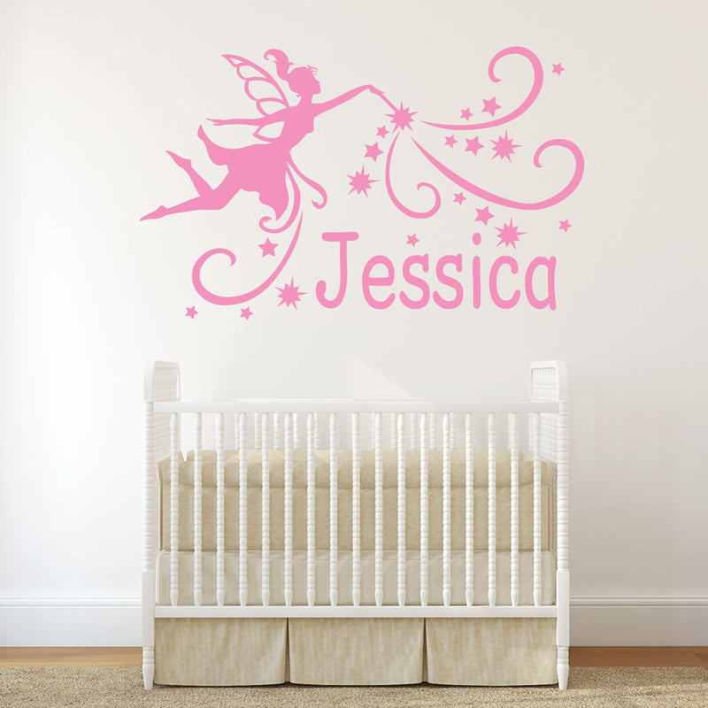 Wall Sticker - Personalised Fairy Vinyl Wall Art Sticker, Mural, Decal - Any Name